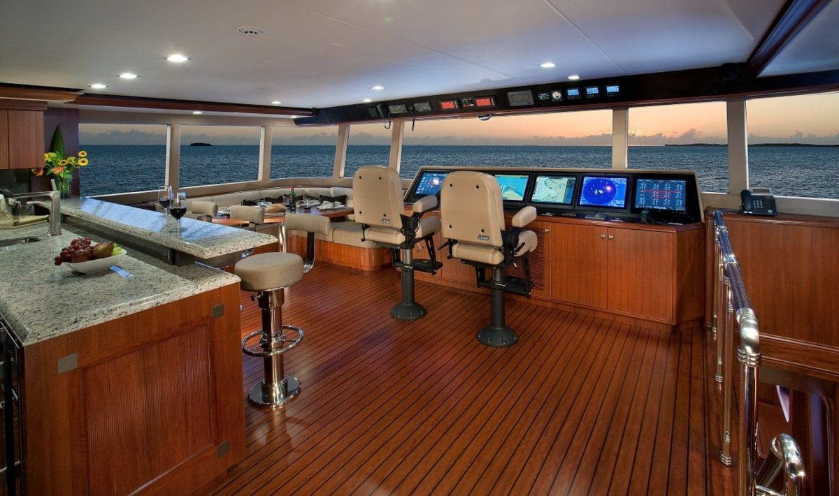 Yacht Interior Design Nordhavn 120 Aurora Enclosed Bridge