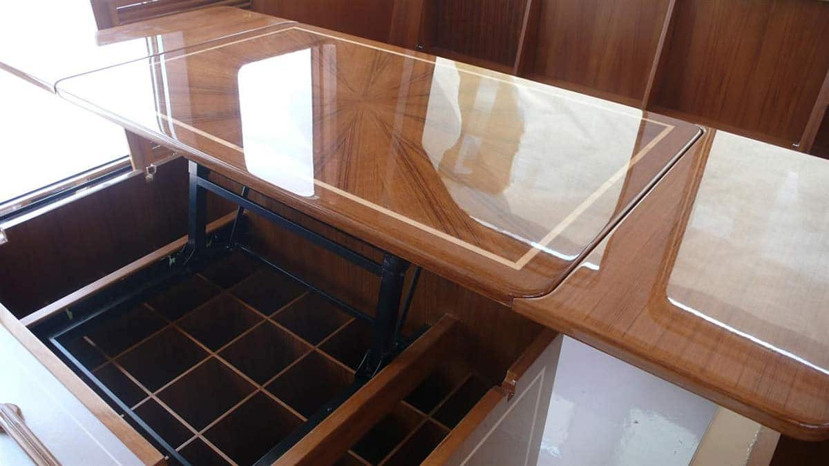 boat storage table open to show bottle storage