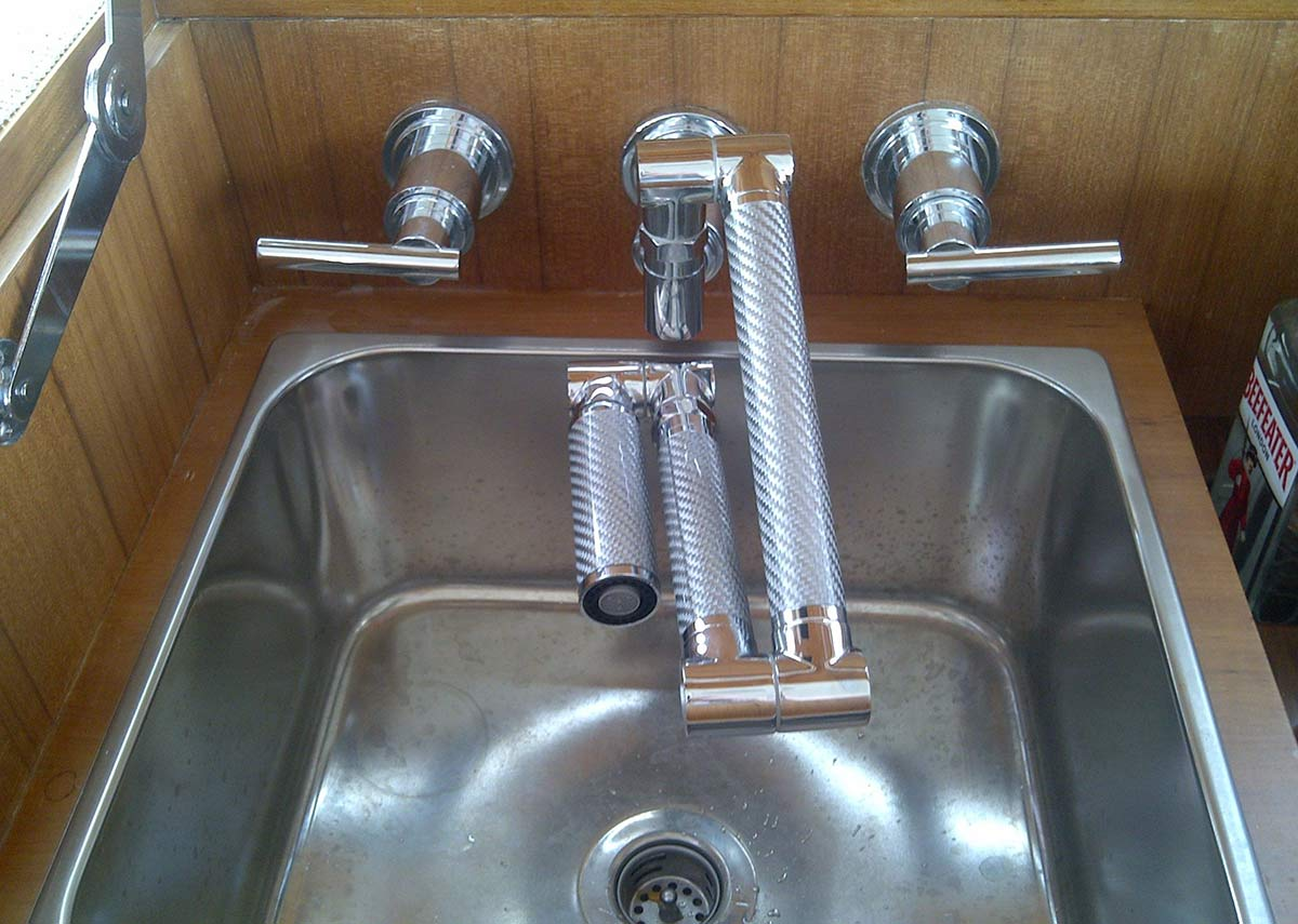 yacht bar sink with folding faucet