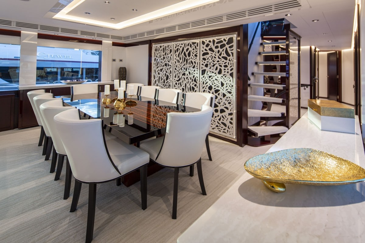 125′ Westport Yacht Castlefinn Dining Salon