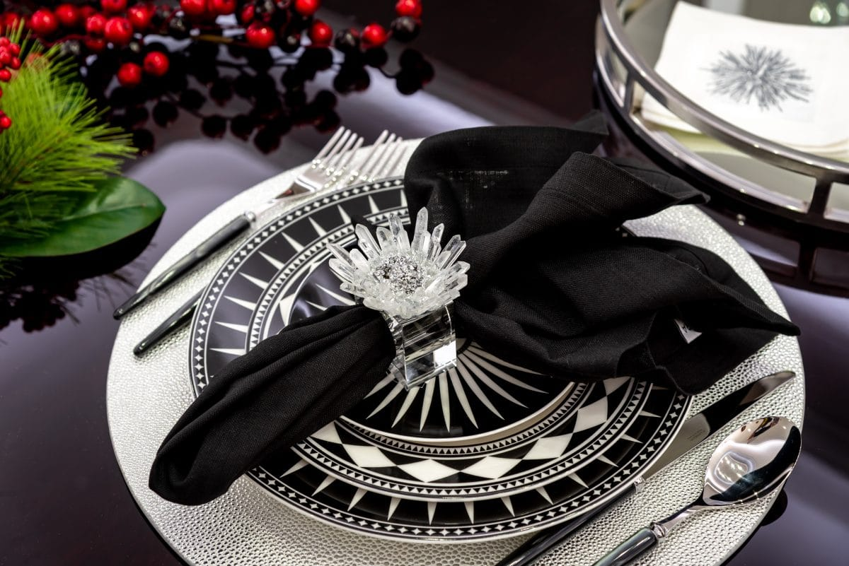 black and white holiday table settings