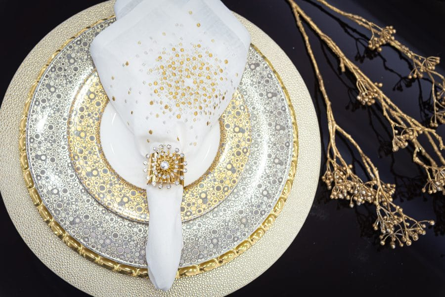 gold silver and white holiday table settings
