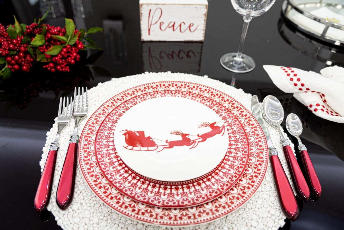 red and white holiday table settings