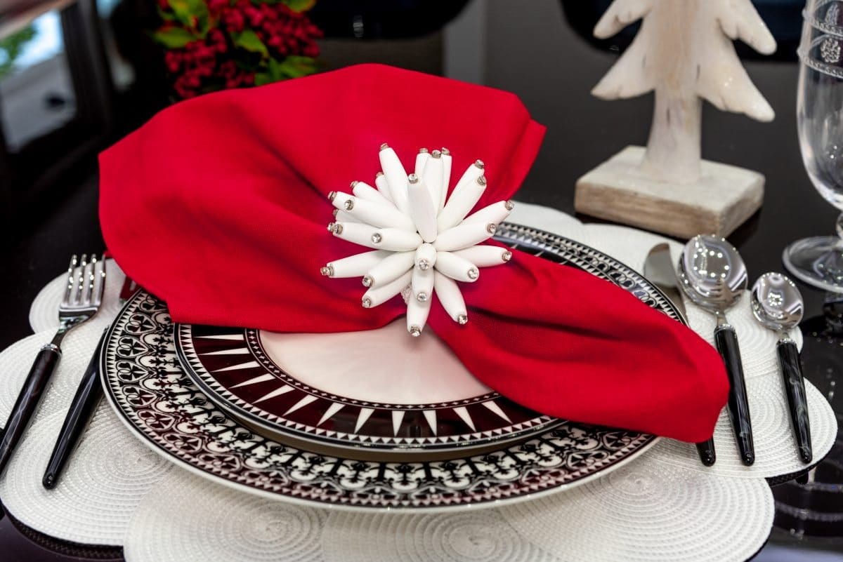 red black and white holiday table settings