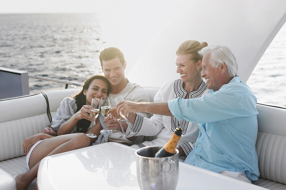 Family Celebrating on Yacht