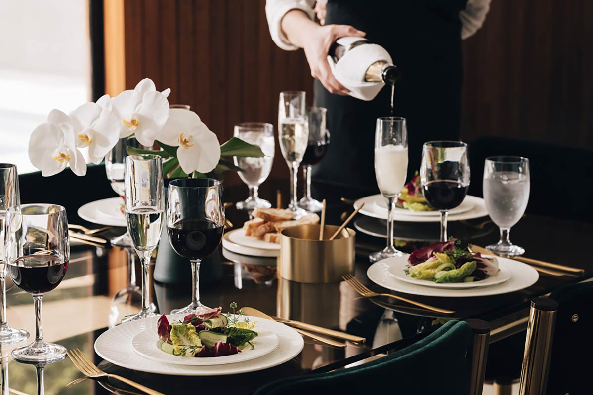 Luxury tablesetting featuring glassware