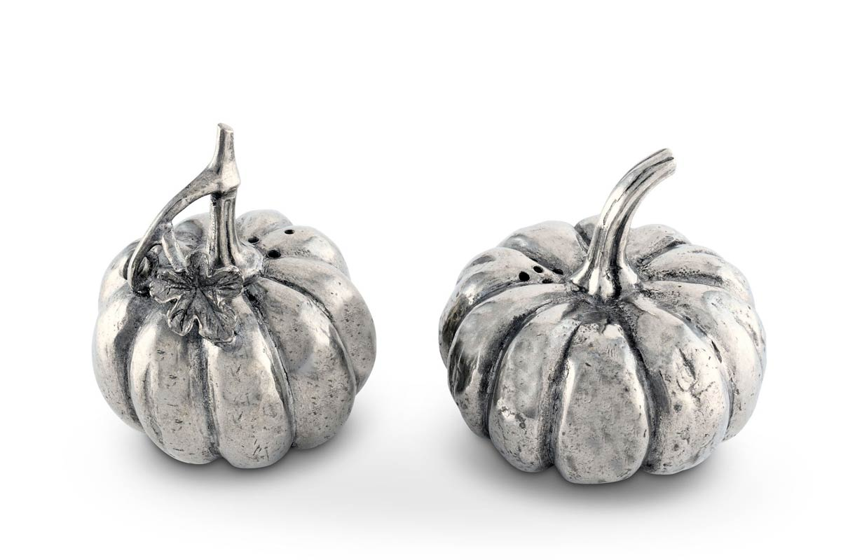 pure pewter pumpkin salt and pepper shakers